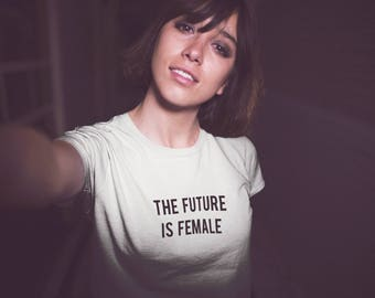 The Future Is Female Feminist Vegan Streetwear Cute Womans Fitted T Shirt Summer New S - XL