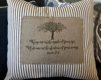 Apple tree - Keep me as the apple of Your eye, hide me in the shadow of your wings.  Psalm 17:8 - Scripture Verse Throw Pillow Cover.