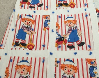 Vintage raggedy anne and andy 1970s baby blanket
