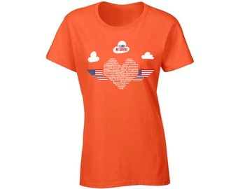 I Love My Country Heart T shirt Top Shirt 4th of July USA Independence Day Patriotic