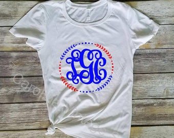 Monogrammed American Flag tee - Circle Monogram - USA Shirt - America