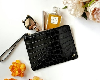 New Personalised Black Mock Croc Real Leather Clutch Bag