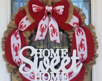 Crawfish wreath, Cajun wreath, Cajun crawfish wreath, Southern decor, Crawdad wreath, Home Sweet Home wreath, Burlap wreath