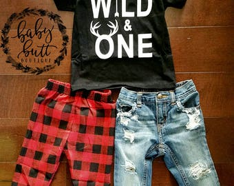 Wild One/Boho/Deer/First Birthday Outfit/Distressed denim/ripped jeans/patched jeans/red plaid/photo prop/baby boy/boy/Wild & one/baby gift
