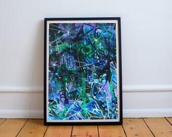 Facet - Giclee Abstract Fine Art Print - Dark Trippy Crystals
