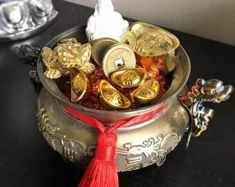 Wealth Vase Pot for wealth abundance, filled with wealth and money symbols
