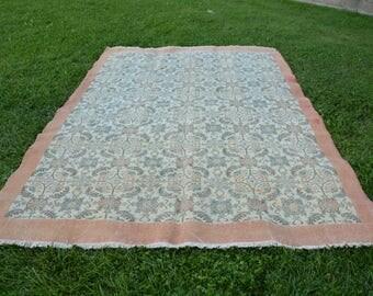 7' x 10.7' very large carpet FREE SHIPPING orane rug floral large rug Large Oushak Rug Vintage Rug Ottomann Rug Pale Color Rug Faded Rug 942