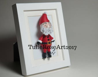 Framed 3x5 Quilled Paper 3D Santa Figure Art - Birthday, Anniversary, Wedding, Christmas, Holiday, Xmas Celebration Gift. Free S/H!!