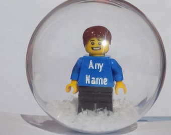 Male engraved personalised lego minifigure christmas bauble