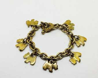 Agatha vintage bracelet chain with charms doggy terrier