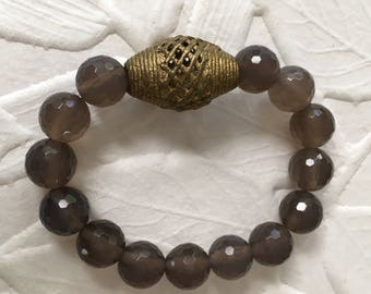 Faceted Agate statement bracelet with African bead and stretch elastic