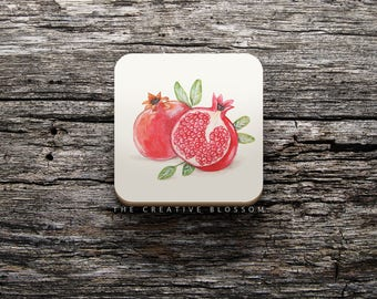Pomegranate Illustration On COASTER ; 8.5 x 8.5 cm ; Watercolor Painting ; Cork Backed Coaster ; Kitchen Accessory