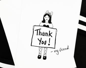 Thank You, My Friend - Hand-drawn, Illustrated Blank Greeting Card w/ Envelope - The Friendship Series