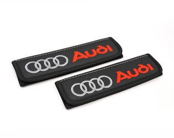 Audi - 2 pcs. Car Seat Belt Shoulder. Car Seat Strap Covers, Padded Strap Covers, Reversible Strap Covers.