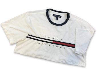 Reworked Tommy Hilfiger - Cropped Shirt - Medium