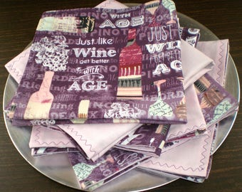 Napkins Humorous Wine Themed, Elegant Yet Fun Double-Sided, Reversible Fabric in Purples and Pinks, Great for Wine Time or for Dinner