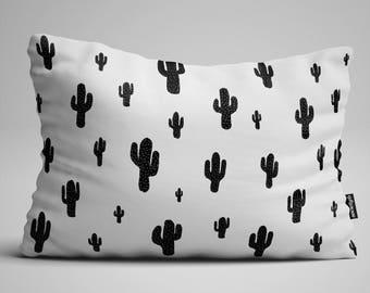 Cactus Lumbar Pillow, Throw Pillow, Black and White Pillow, Rectangular Pillow, Decorative Pillow, Throw Pillows, Pillow, Pillows