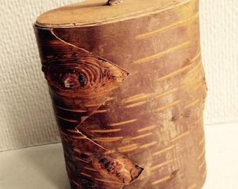 Swedish Old Wooden box - Birch bark and wood. Handmade