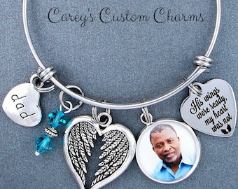 Dad, Daddy, ~ His Wings Were Ready, My Heart Was Not Memorial Photo Charm Bracelet, Swarovski Birthstone, Sympathy Jewelry Gift For Daughter