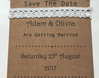 Wedding Save The Date Vintage Style - Rustic - Roses - Lace - Ribbon - Wedding Stationary - Save the Date