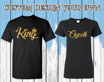 Camiseta de la T de la reina de rey y reina camiseta King Queen camisetas camisa tes par camisetas par camisa par tes regalo de San Valentín para pareja