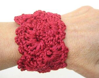 Romantic bracelet Red lace jewelry Elegant bracelet Wide cuff Crochet bracelet Lace jewelry Cuff bracelet Lace cuff Lace wide