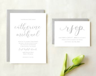 Simple Calligraphy Wedding Invitation
