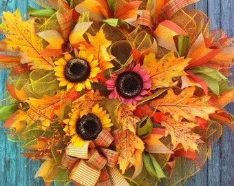 Fall wreath, Autumn wreath, Sunflower wreath
