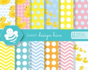 Rubber Duck Digital Paper Set, Rubber Duck Clipart, Rubber Ducky, Duck Digital Paper, Yellow Duckie, Yellow Ducks, DP0016