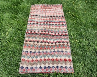 Rainbow Vintage Turkish Rug 2 x 5.5 feet Free Shipping Runner Area Rug Oushak Rug Handknotted Rug Anatolian Wool Rug Unique Rug DC425