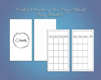 Pocket Blank Month on Two Pages for Ring Planners