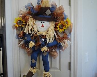 Adorable Fall Scarecrow Wreath, Fall Scarecrow Door Deco, Fall Deco Mesh Wreath, Thanksgiving, Autumn Wreath, Sunflower, Country Decor