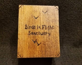 Birds in Flight Sanctuary Wooden Box (With Pearl Bracelet)