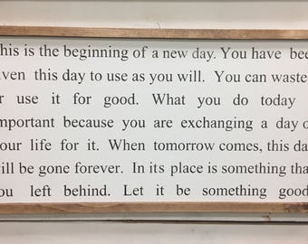 This is the beginning of a new day wooden sign / home decor / wall decor / wood sign / handmade / farmhouse sign / rustic sign