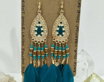 50% OFF - Teal & Gold Feather Chandelier Earrings / Boho / Hippy