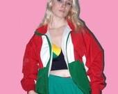 vintage tracksuit jacket size M, red green retro windbreaker, lightweight spring summer jacket, men's women's unisex jacket