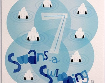 Seven Swans A-Swimming Hand-lettered Print