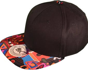 BK Cap Flat Bill 2 Tone Aztec Snapback Hat