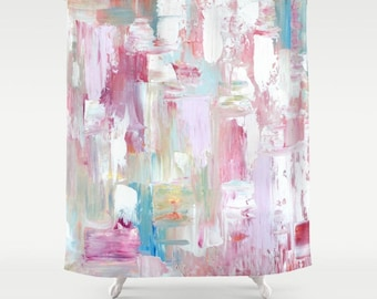 Shower Curtain Art, Pink Shower Curtain, FREE Shipping