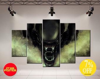 Alien canvas, Alien print, Movie canvas,  Alien movie canvas, Alien wall art, Alien canvas art, Alien poster, Alien movie art, Alien