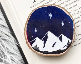 Night Court painted wood slice magnet