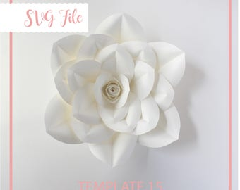 SVG Paper Flower Template, Paper flower DIY, Giant Paper Flower Templates, Cricut and Silhouette Ready, Base Including