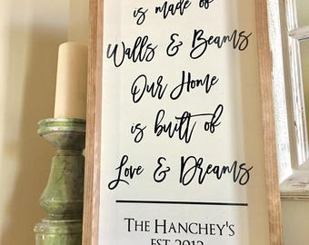 A House is made of Walls and Beams Our Home is built of Love and Dreams Framed Wood Sign 25x13 Handmade & Handpainted- Custom Wooden Sign