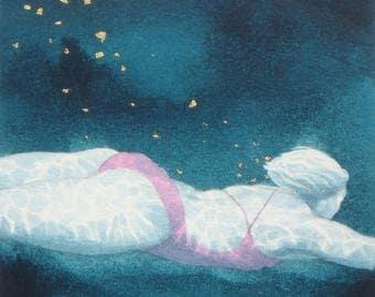 Original Art - Mini Swimmer no.21 - Painting in gouache, watercolour, gold leaf. Open water swimmer, diver. Artwork by Nancy Farmer