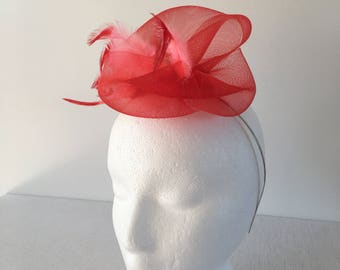 Red Fascinator, Wedding Fascinator, Church Hat, Tea Party Fascinator, Holiday Hat, Derby Fascinator, Derby Hat