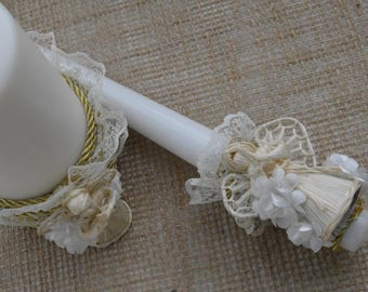 Personal baptism candle set, Christening candle, first holy comunnion candle, church candle, Catholic ceremony candle, rustic candle, C-004