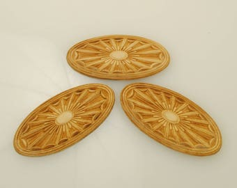 Oval Wood Appliques 1 1/2 X 3 inches 3 Pieces