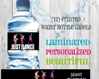 Just Dance water bottle labels (set of 12)