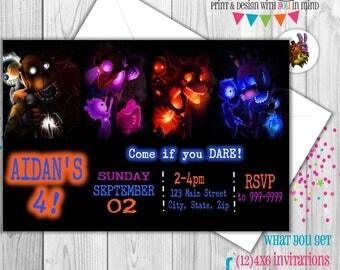 Five Nights at Freddy's invitation set of 12