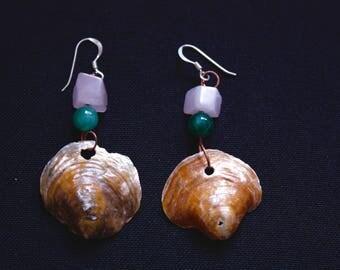Rose Quartz and Jingle Shell Earring